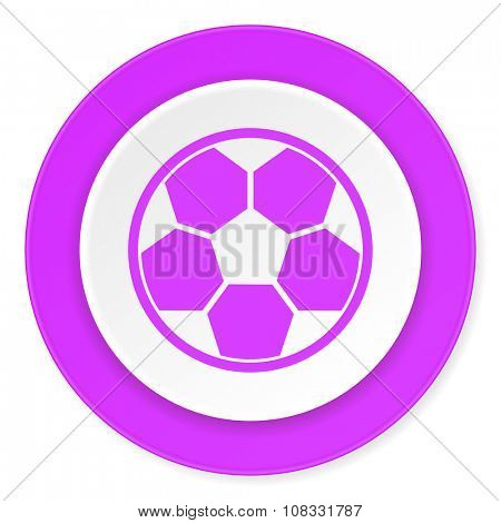 soccer violet pink circle 3d modern flat design icon on white background
