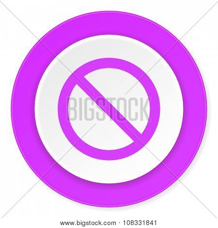 access denied violet pink circle 3d modern flat design icon on white background