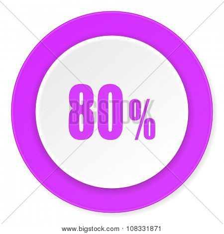 80 percent violet pink circle 3d modern flat design icon on white background