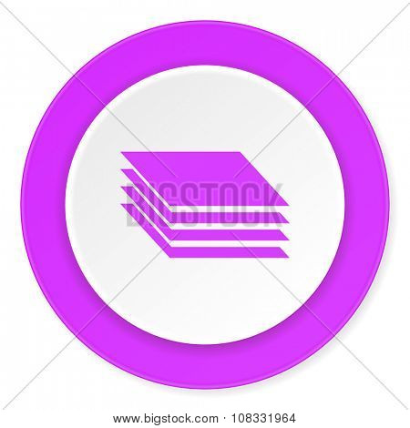 layers violet pink circle 3d modern flat design icon on white background