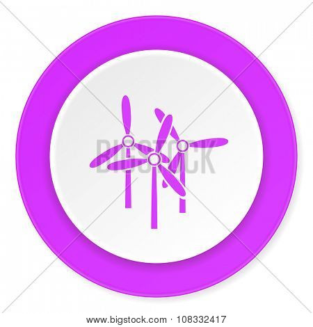 windmill violet pink circle 3d modern flat design icon on white background