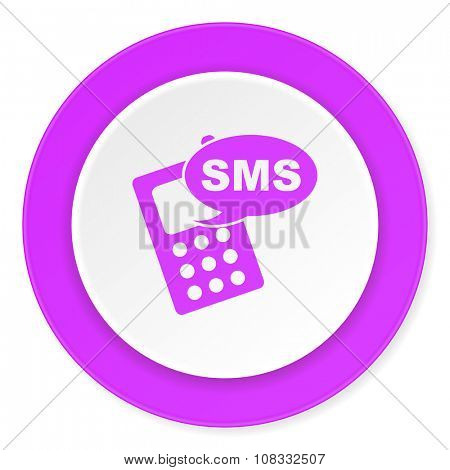 sms violet pink circle 3d modern flat design icon on white background