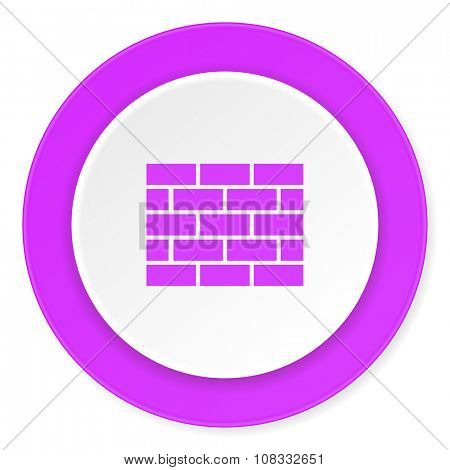 firewall violet pink circle 3d modern flat design icon on white background