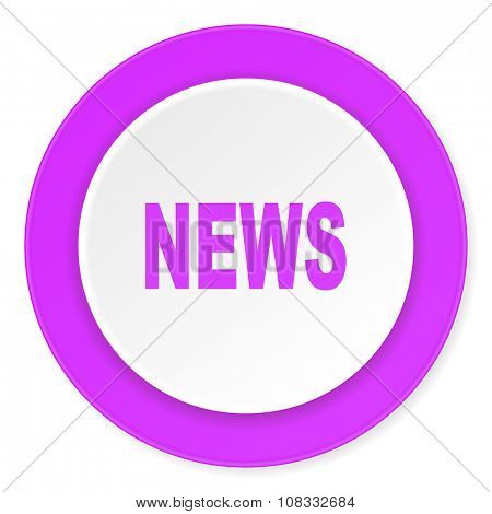 news violet pink circle 3d modern flat design icon on white background