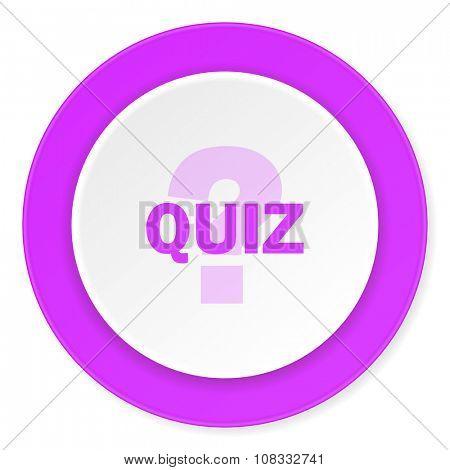 quiz violet pink circle 3d modern flat design icon on white background