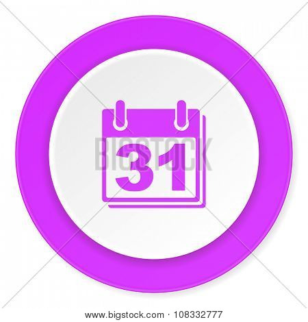 calendar violet pink circle 3d modern flat design icon on white background