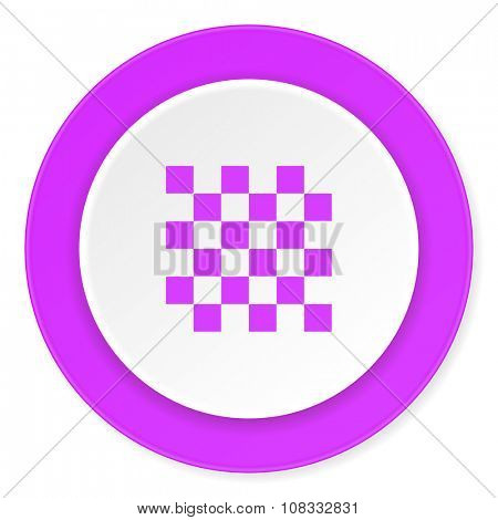 chess violet pink circle 3d modern flat design icon on white background
