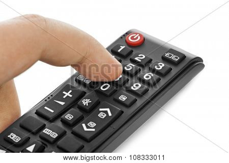 Hand and remote control isolated on white background