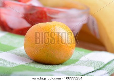 Many Different Fruits For The Health Of The Entire Family, Peach, Mandarin, Strawberry Slices