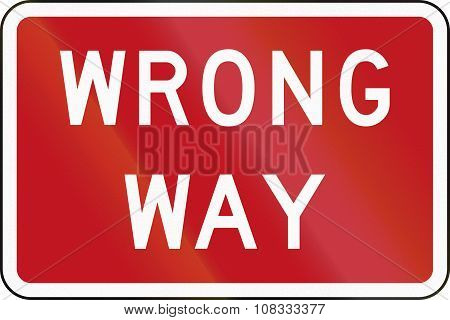 New Zealand Road Sign Rg-18 - Wrong Way
