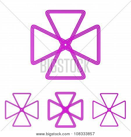 Magenta line loop logo design set