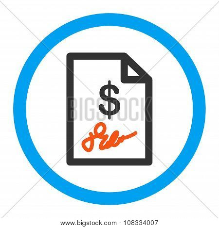 Signed Invoice Rounded Glyph Icon