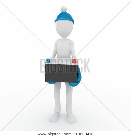 3D Man With Car Battery