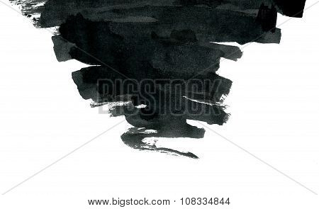 Black ink abstract shape isolated on white background