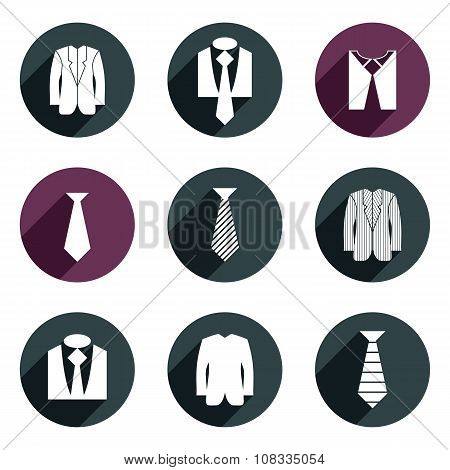 Man business clothes vector icons set. Clothing and fashion