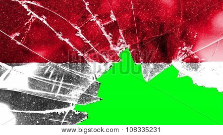 Flag of Monaco, Monacan flag painted on broken glass