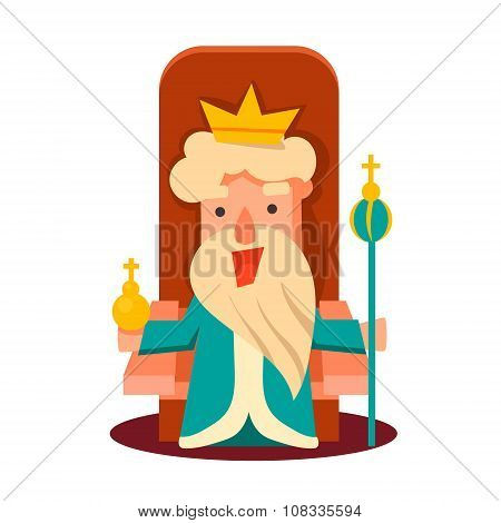King Cartoon Emotion Vector Illustration Set