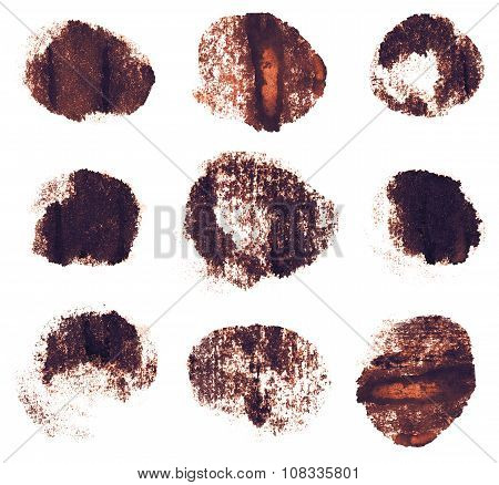 Brown sepia ink round shapes isolated on white background