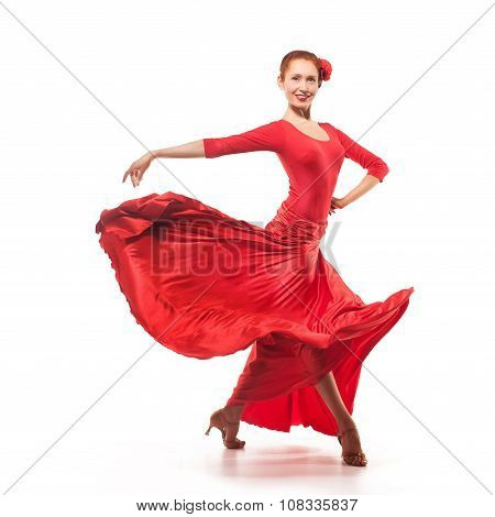 woman traditional dancer in red dress