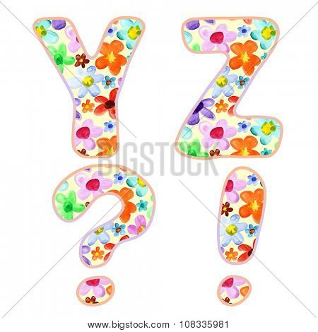 Alphabet with colorful watercolor flower pattern. Letters Y, Z and marks