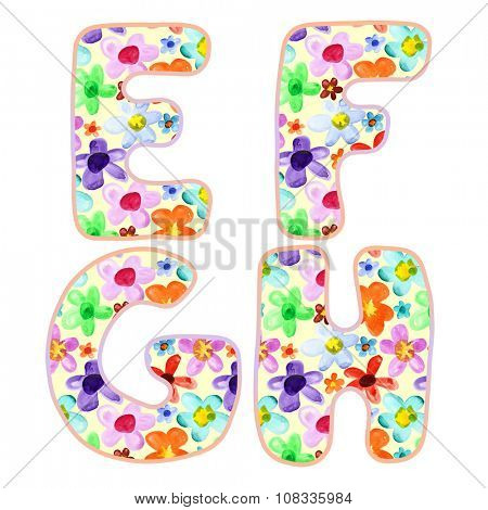 Alphabet with colorful watercolor flower pattern. Letters E, F, G, H