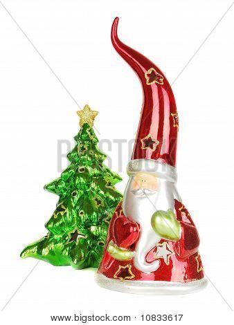 Vidrio Santa Candelstick con árbol de Navidad.