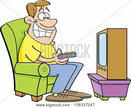 Cartoon man watching television.