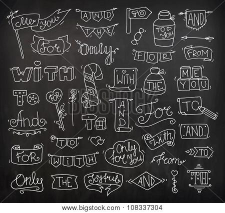 Doodle Calligraphic Funny Catchwords Set For Romantic Design
