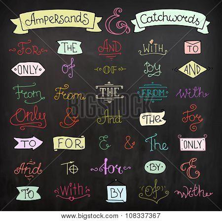 Doodle Calligraphic Elegant Ampersands And Catchwords Set