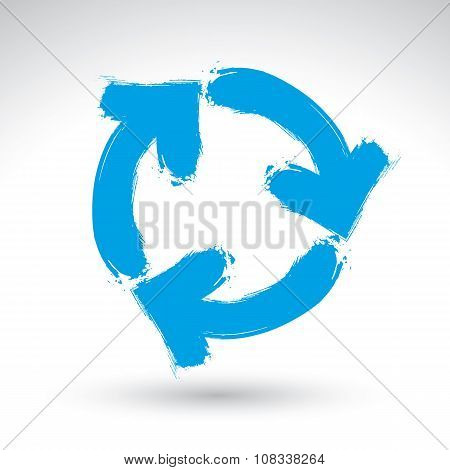 Hand-painted blue loop arrows sign isolated on white background