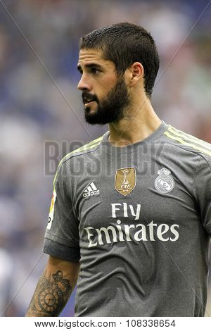 BARCELONA - SEPT, 12: Isco Alarcon of Real Madrid during a Spanish League match against RCD Espanyol at the Power8 stadium on September 12, 2015 in Barcelona Spain
