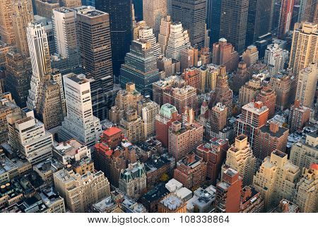 Urban City architecture background. New York City Manhattan skyline aerial view with street and skyscrapers.