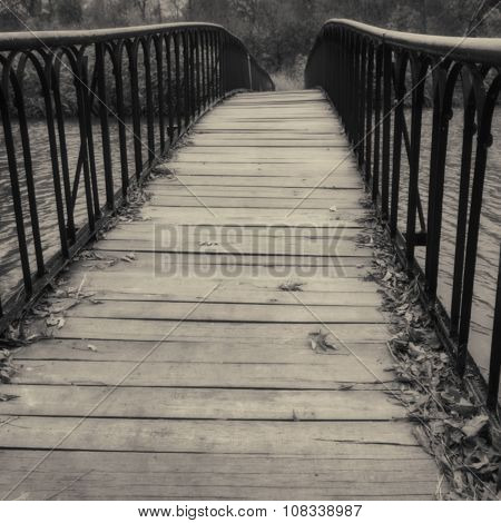 Deserted Bridge Over The River
