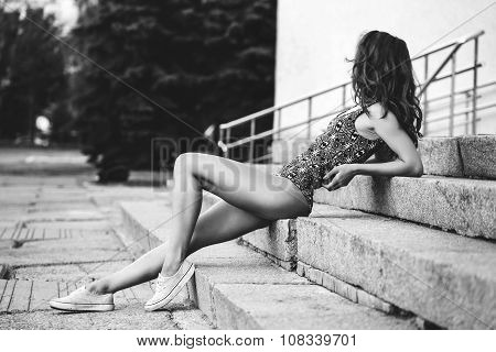 The Girl In The Swimsuit Shit On The Steps Thinking