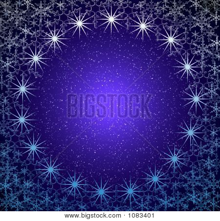 Christmas Blue Snow Frame