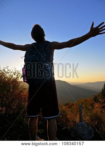 Man Hiker Success Silhouette In Mountains, Achievement Inspiration Sunset
