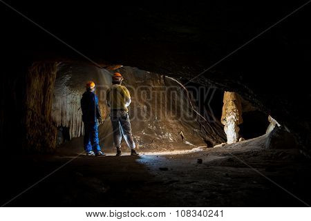 People Exploring An Amazing Crimean Cave