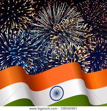 Illustration With Indian Flag And Fireworks