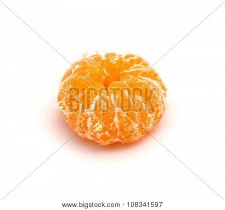 Peeled mandarin on a white background