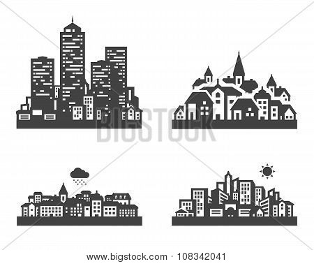 city set black icons. signs and symbols