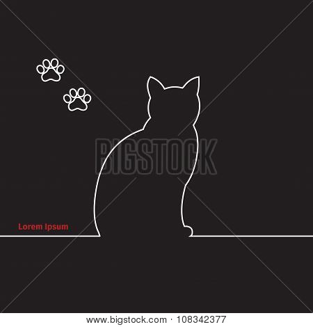 Advertising Card With Cat Silhouette And Paws