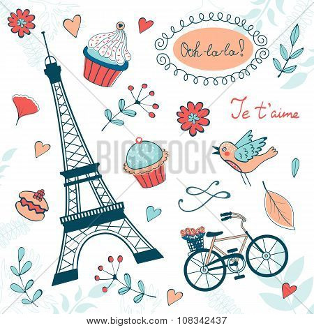 Beautiful collection of paris related graphic elements