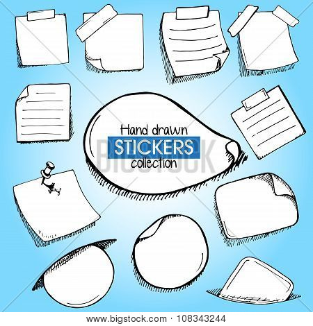 Set Of Hand Drawn Frames Or Stickers On Blue Background