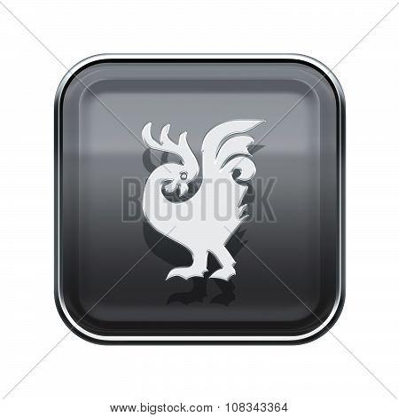 Cock Zodiac Icon Grey, Isolated On White Background.
