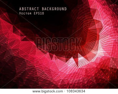 Abstract red vector background. Triangle pattern.