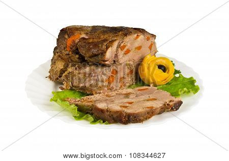 Pork From Wild Boar On The Plate, Isolated