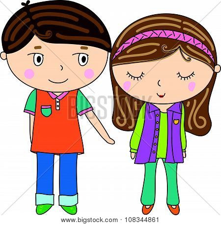 Cute Boy And Girl Cartoon Icon, Reaching Hand,, Shy Woman, Long Long Brown Hair, Colorful Outfit, Il