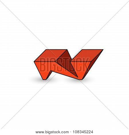 Logo N Letter Graffiti Cool Youth Style, 3D Isometric Geometric Shape, Mockup Emblem For Modern Web