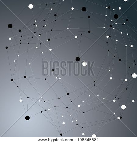 Vector Complicated 3D Figure Over Dark Background, Modern Digital Technology Style Form. Abstract