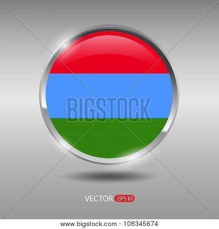 Shiny, glossy vector badge with Karelia flag